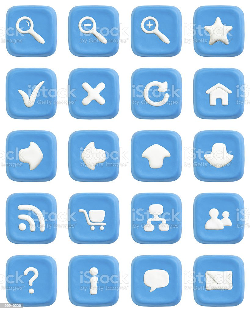 Blue plasticine buttons set with web icons royalty-free stock photo
