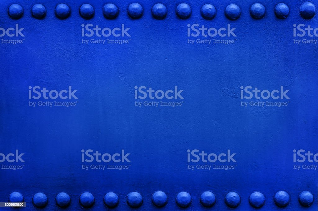 blue plate big rivets 1 stock photo