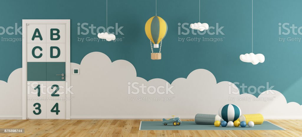 Blue playroom for baby boys stock photo