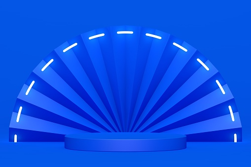 Blue podium and minimal abstract background, 3d rendering geometric shape, Stage for awards on website in modern. Empty product stand