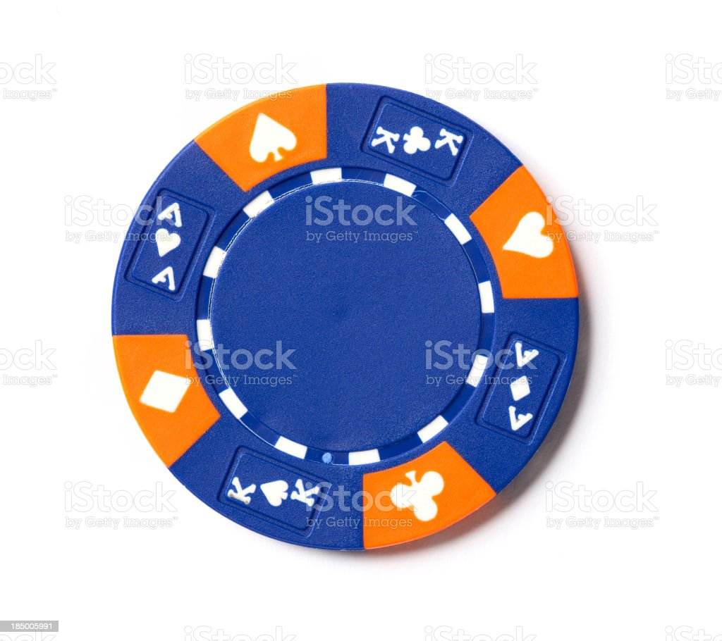 Blue Poker Chip stock photo