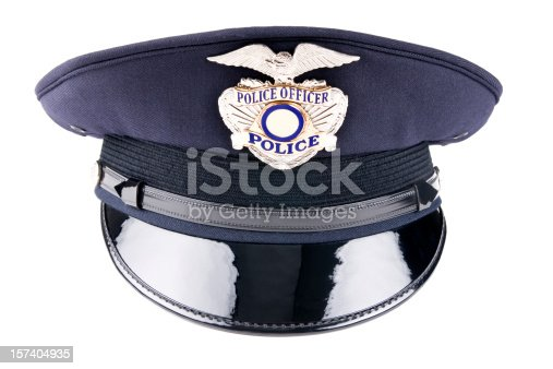 Front view of a generic police cap usually used for dress uniform and special events.