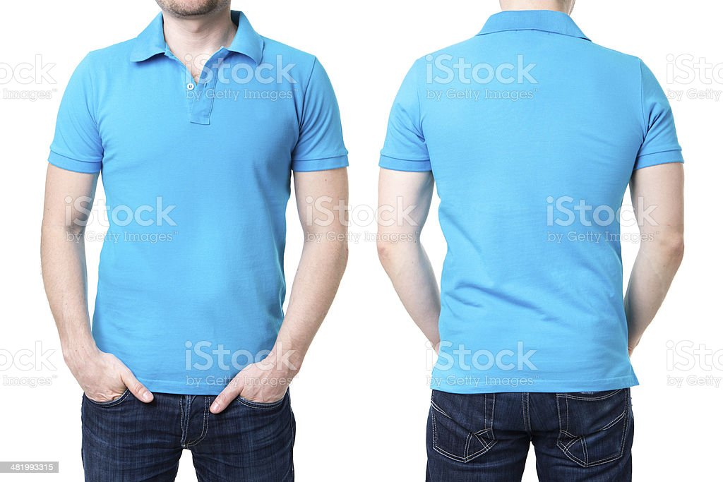 Blue polo shirt on a young man template stock photo