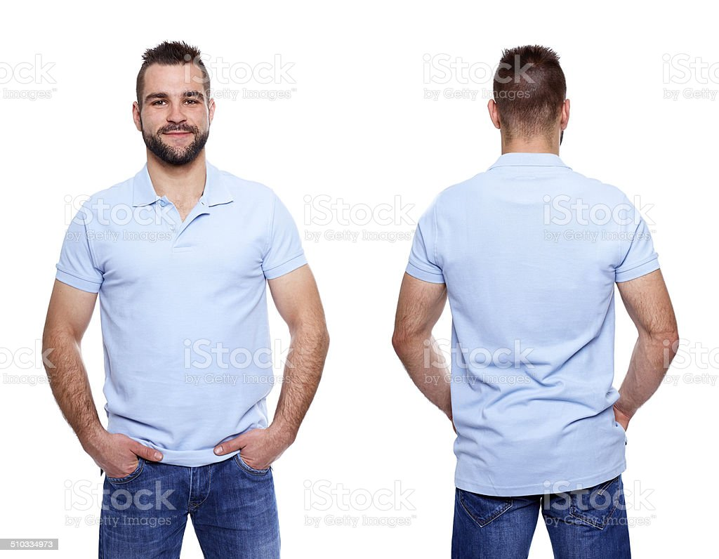 Blue polo shirt with a collar on young man stock photo