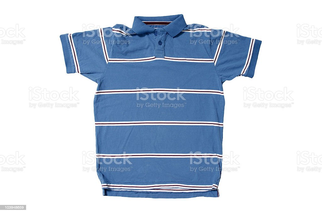 Blue Polo Shirt With White/Red Stripes - White Background royalty-free stock photo