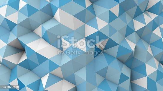 istock blue polygonal 3D geometric surface 941870718