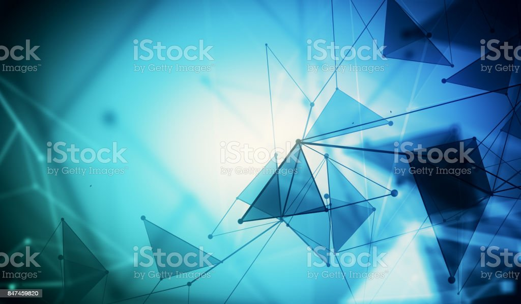 Blue polygonal backdrop, technology stock photo