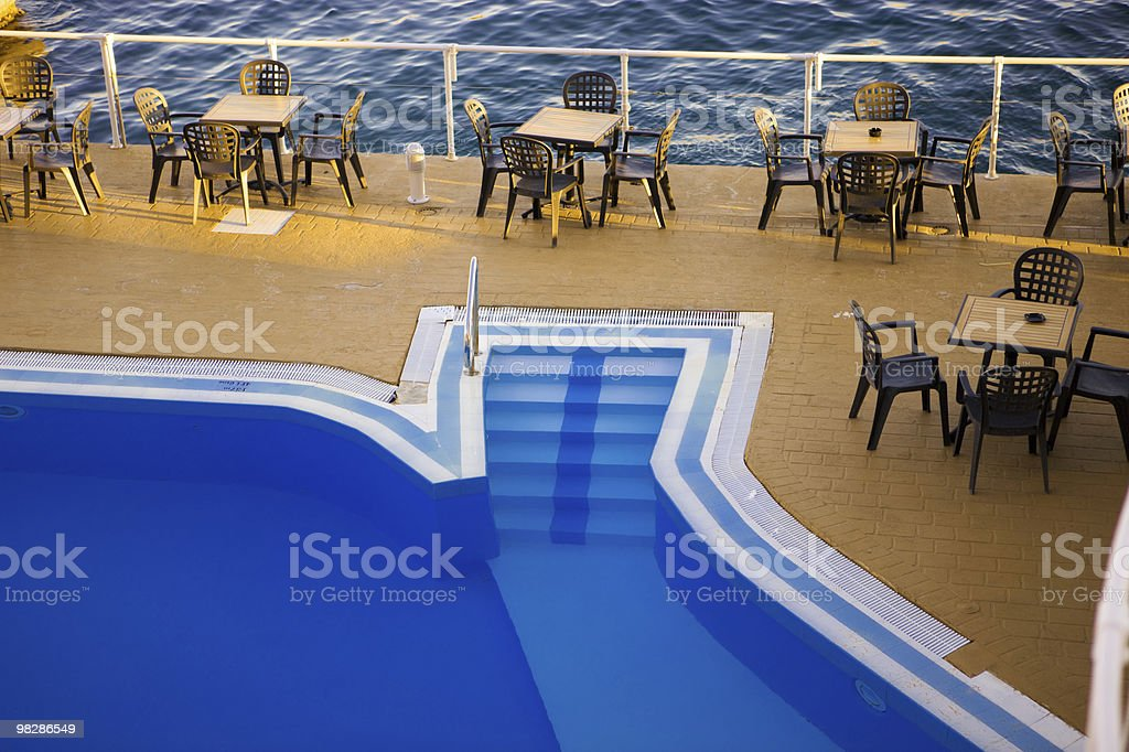 Blue Pool and Empty Cafe Malta royalty-free stock photo
