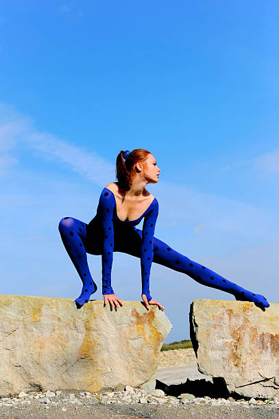 blue posing beauty six - leotard stock photos and pictures