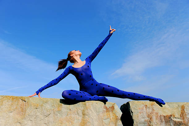 blue posing beauty two - leotard stock photos and pictures