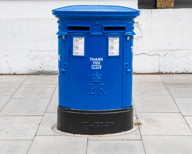 Blue Post Box in London, Thanking the NHS stock photo