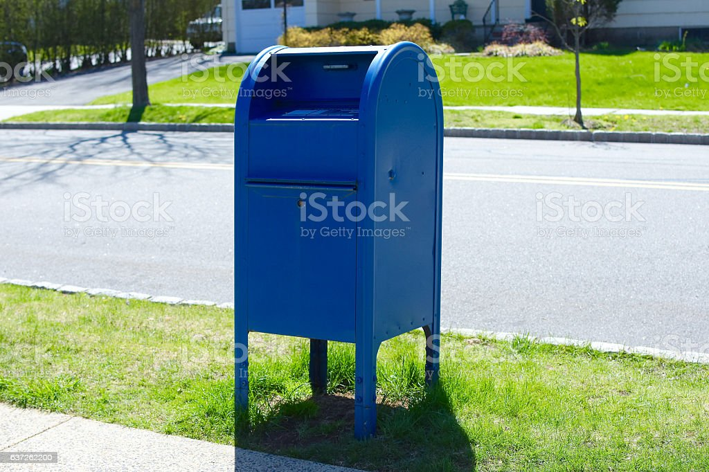 blue postal mail box – Foto