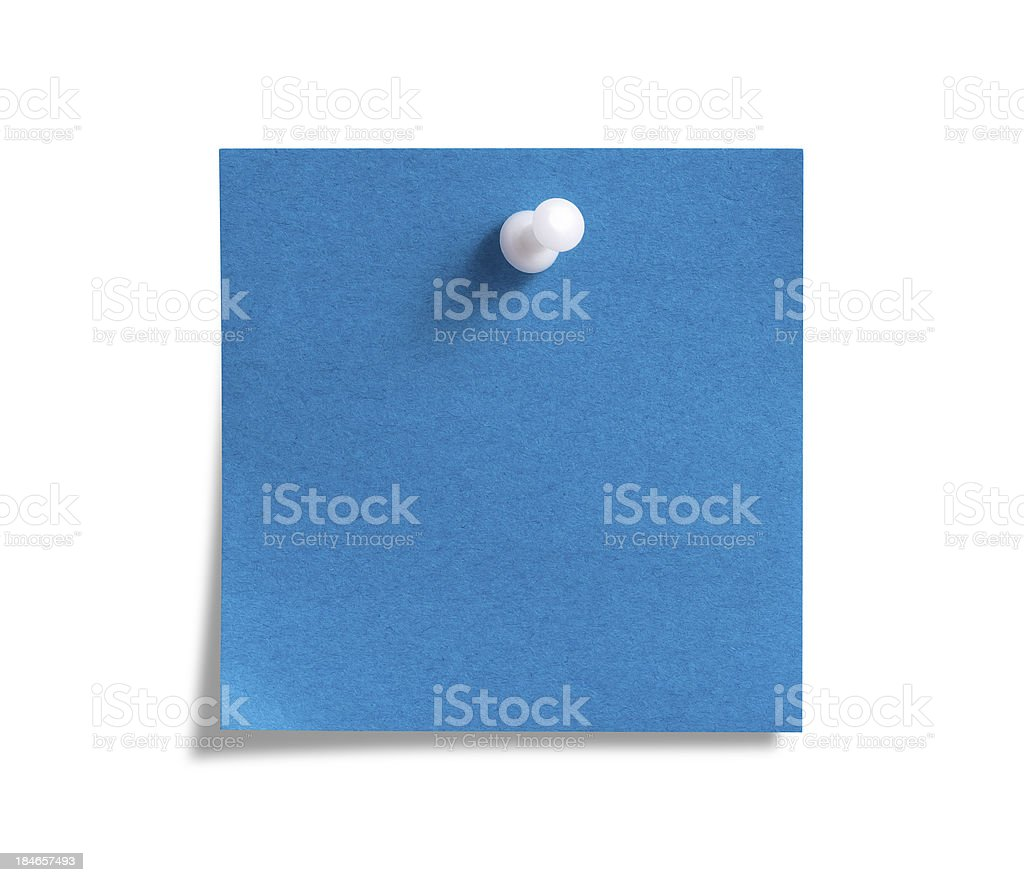 Blue Post-it Note with White Push Pin stock photo