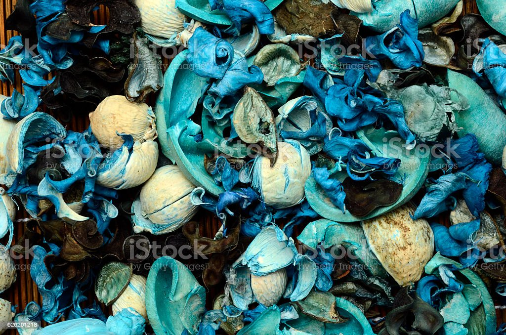 Blue potpourri background stock photo