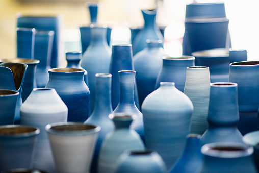 Blue pottery works in okinawa