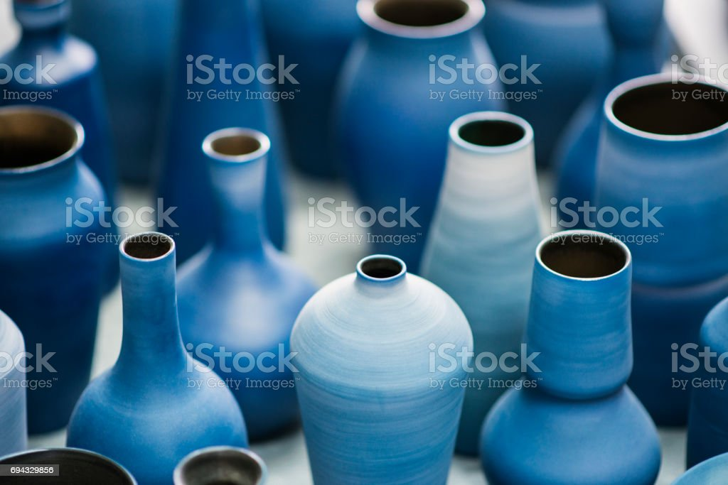 Blue pottery works in okinawa stock photo