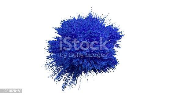 istock Blue powder ball explosion on white background. 1041528480