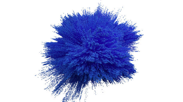 blue powder ball explosion on white background. - blue powder stock photos and pictures