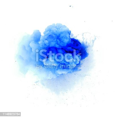 Forms and textures of powder explosion in the form of a blue cloud on a white background