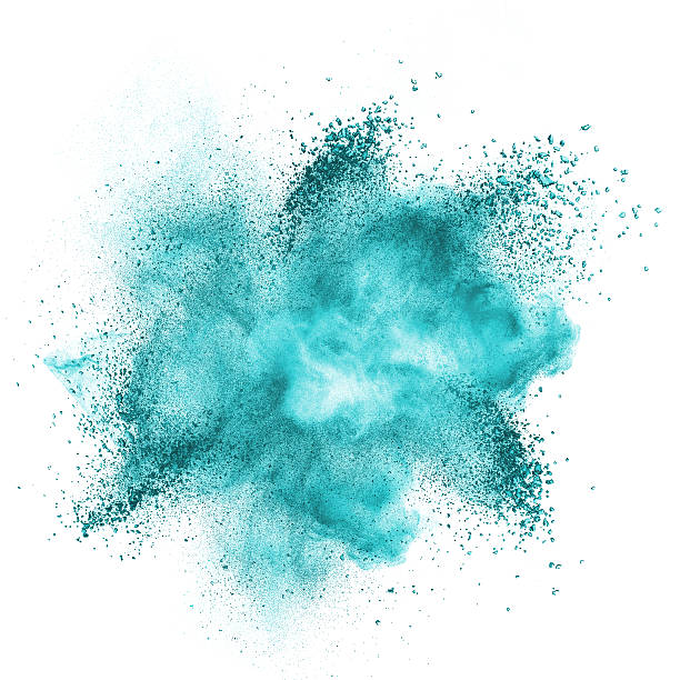 blue powder explosion isolated on white - turquoise colored stock pictures, royalty-free photos & images