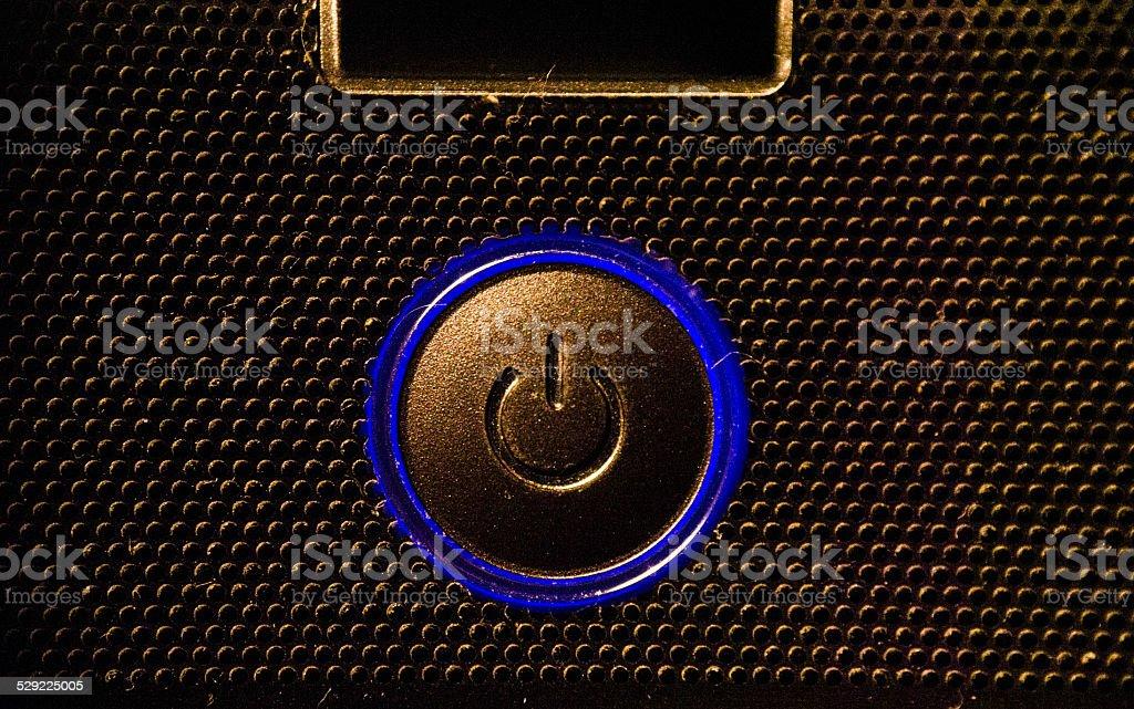 blue power button stock photo