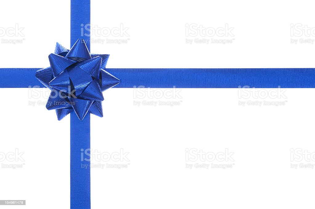 Blue present bow and ribbon, isolated on white stock photo