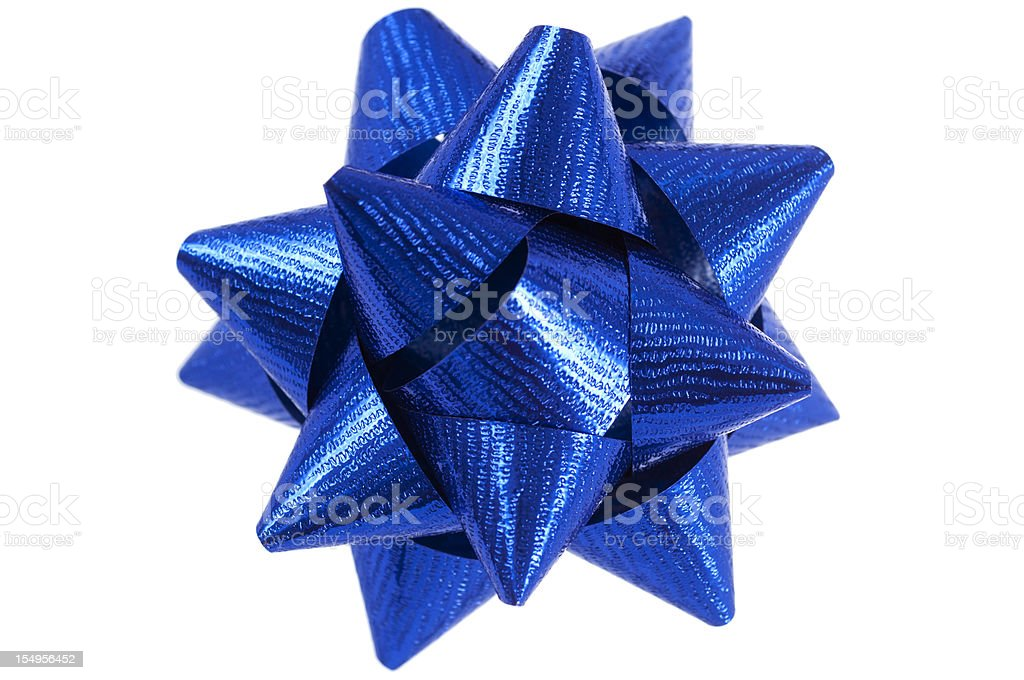 Blue present bow on white stock photo
