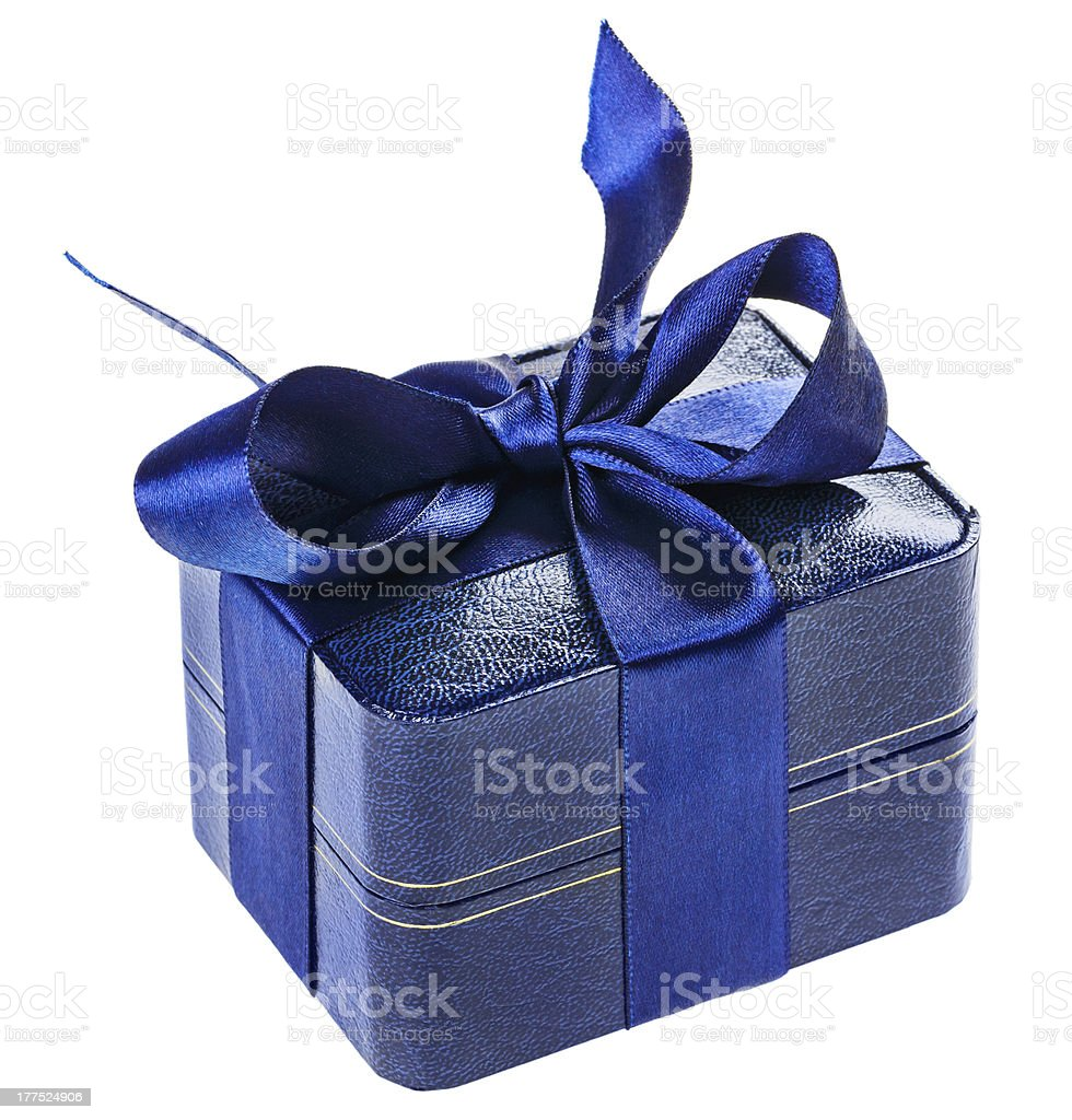Blue present box with silk ribbon, isolated on white royalty-free stock photo