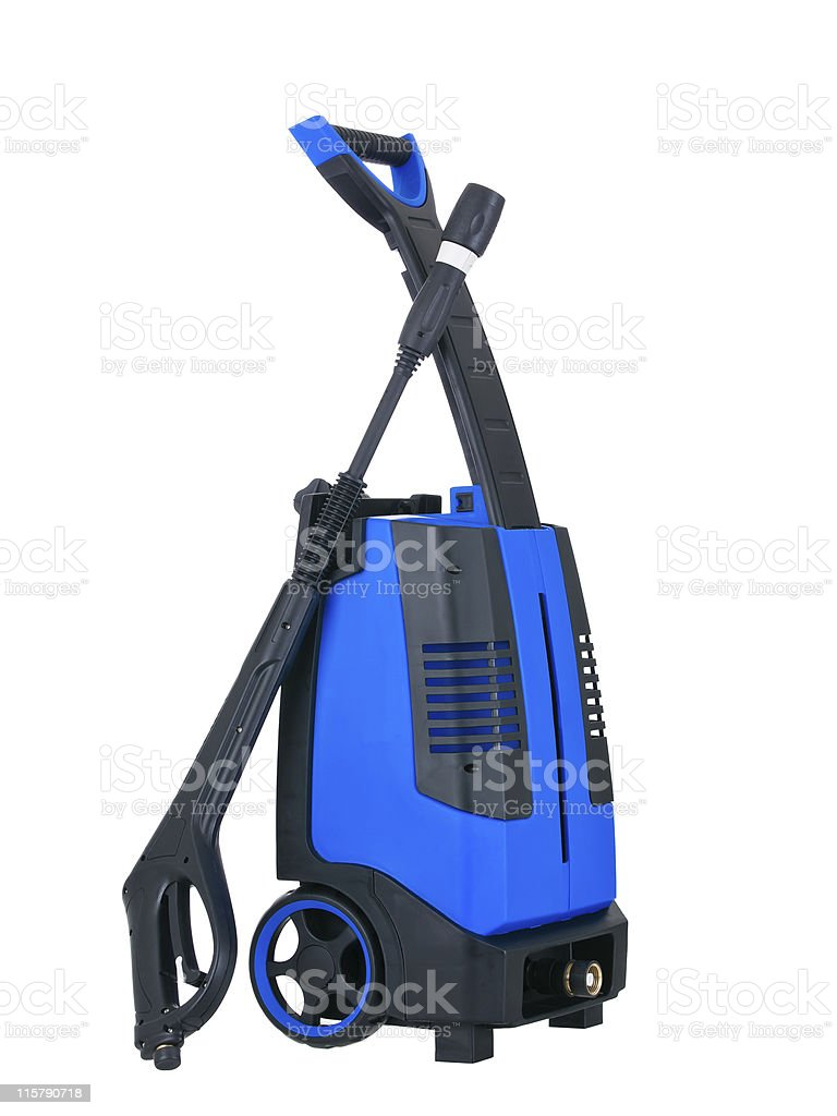 Blue pressure portable washer side view royalty-free stock photo