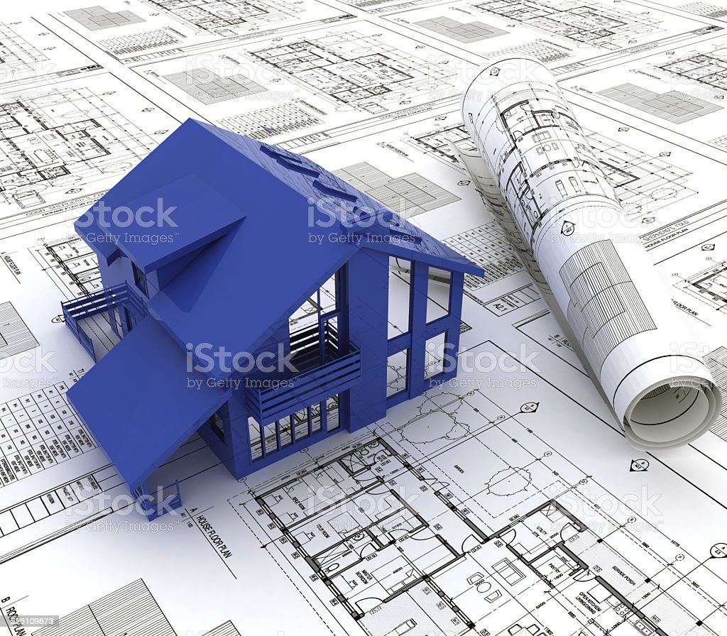 Blue print of a house royalty-free stock photo