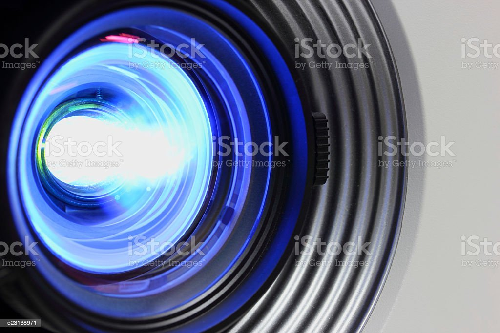 Blue projector close stock photo