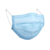 istock Blue protective face mask isolated over white 1269894134