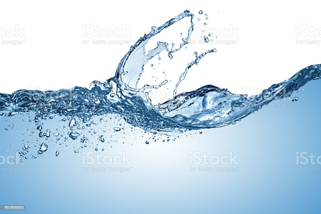 blue pure water wave splash stock photo