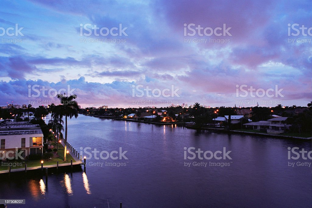 Blue, Purple and Pink Sunset Over Intracoastal Waterway - Florida stock photo