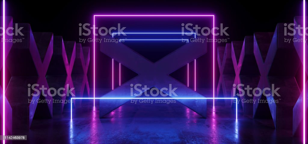 Blue Purple Psychedelic Neon Glowing Laser Show Stage Cross Shaped...