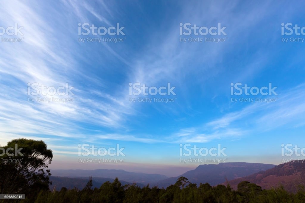 Blue purply sky of mountains range, view from Liffey Forest Lookout on Highland Lakes Road, Tasmania, Australia stock photo