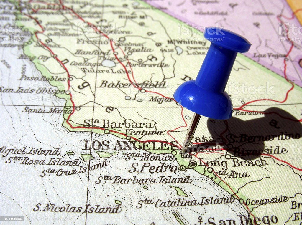 Blue Push Pin Stuck In Los Angeles On A California Map Stock Photo - Los angeles on the map