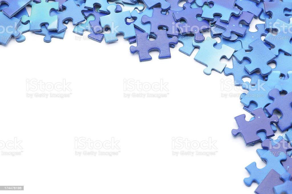 Blue Puzzle Border Stock Photo - Download Image Now - iStock