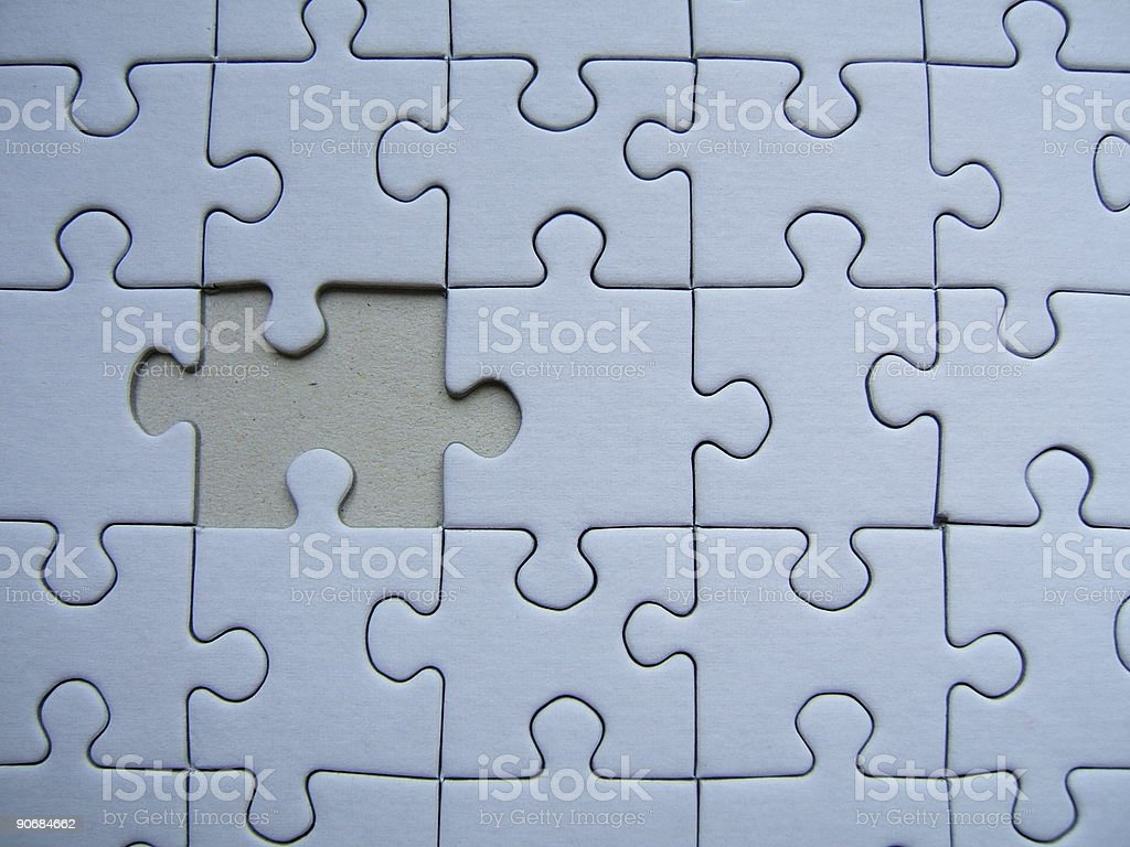 Blue puzzle - One alone royalty-free stock photo