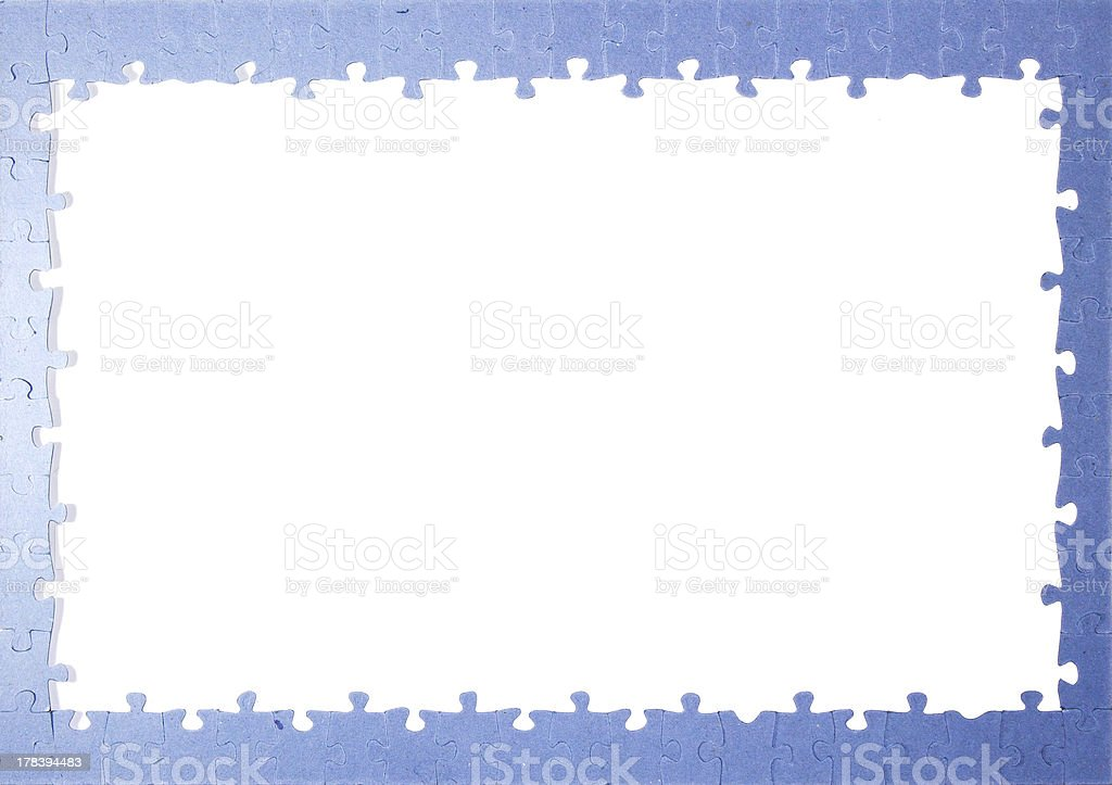 blue puzzle piece frame on white background stock photo more