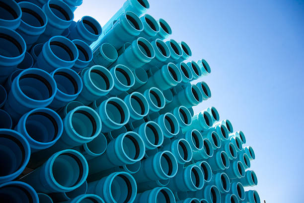 Blue PVC Pipe stock photo