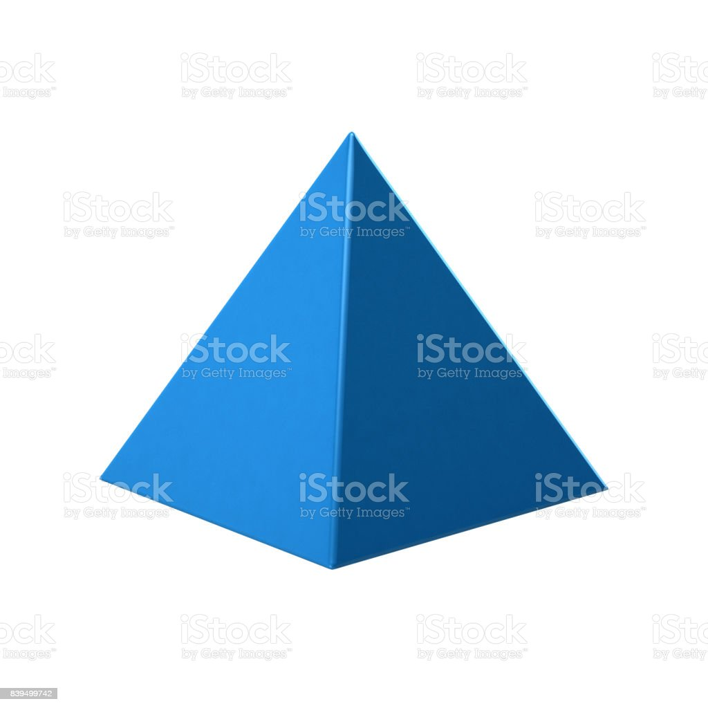 Blue Pyramid on white background. 3D Rendering Illustration stock photo
