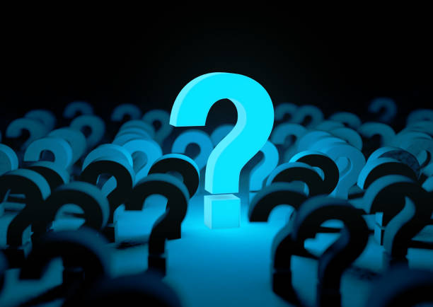 Blue question mark background and dark space or room stock photo