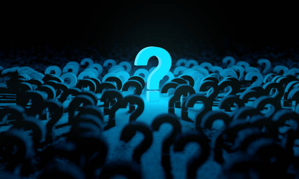 Blue question mark background and dark space or room Concept of doubts and questionnaire. Ask and question.3d illustration skeptic stock pictures, royalty-free photos & images