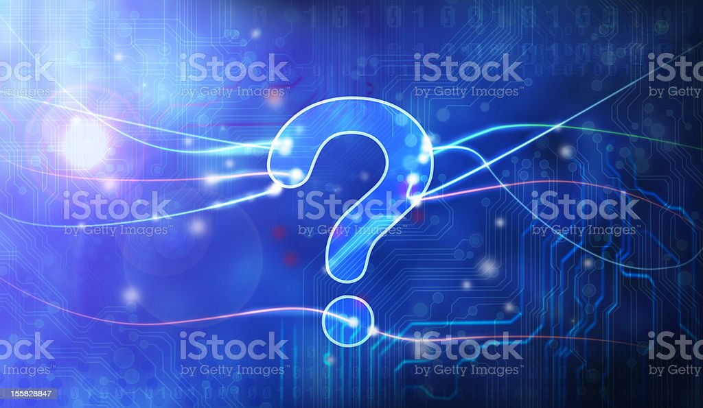 Blue question mark in data stream royalty-free stock photo