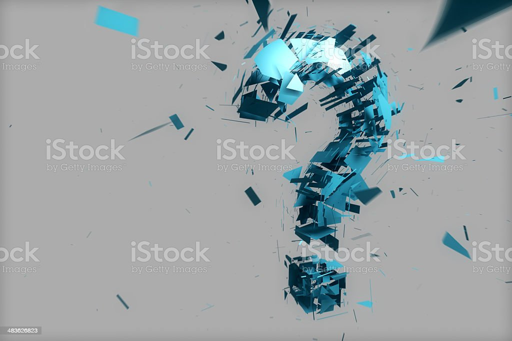 blue questionmark explosion stock photo
