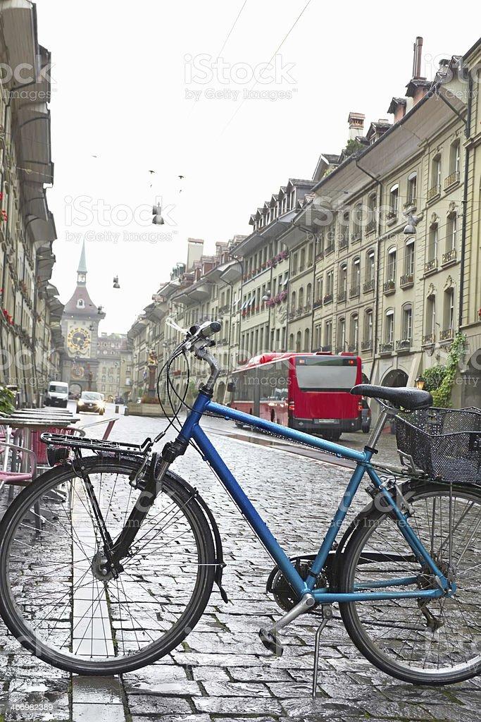 Blue racing bike royalty-free stock photo