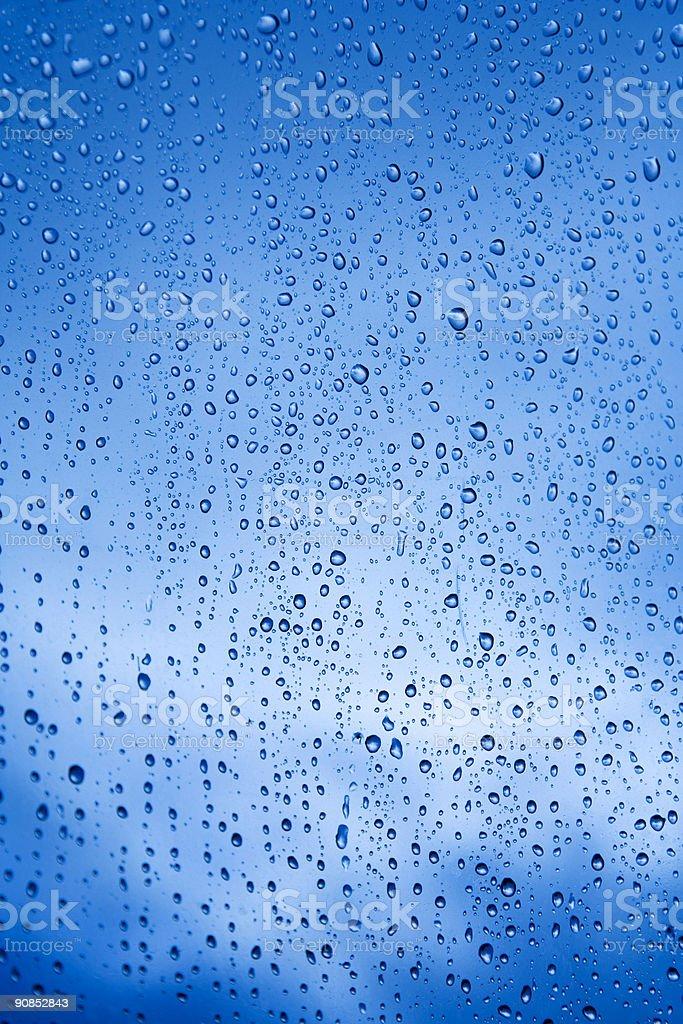 Blue Rain Drops Background royalty-free stock photo