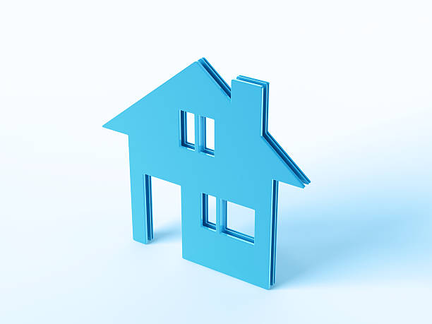 Blue Real Estate House Symbol 3D Render of a blue house symbol. Concept image for Real Estate Services. Very high resolution available!Related images: blue 3d business NOT map NOT background stock pictures, royalty-free photos & images