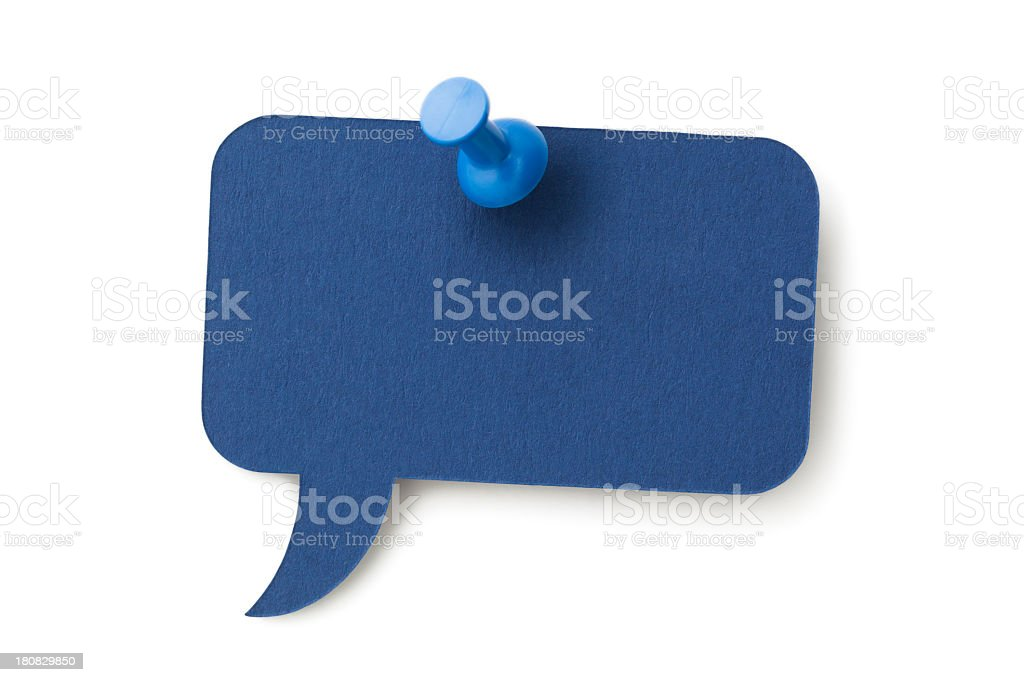 Blue rectangular speech bubble pinned to a white surface royalty-free stock photo